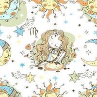 ett roligt sömlöst mönster för barn. zodiac jungfrun vektor