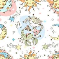ett roligt sömlöst mönster för barn. stjärntecken skorpion. vektor