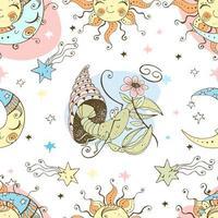 ett roligt sömlöst mönster för barn. stjärnteckencancer vektor