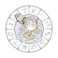 Kinder Tierkreis eines Wassermannzeichens vektor