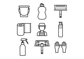 Beschriebene Hausmeister Stuff Icons vektor