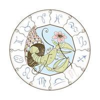 Sternzeichen Krebs. Krebstiere und eine Blume. vektor