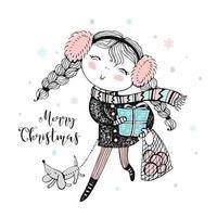 flicka med gåvor och hundhem till jul. vektor