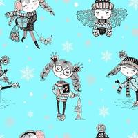süßes Wintermädchenmuster vektor