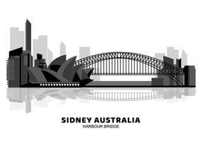 Australien-Hafen-Brücken-Schattenbild vektor
