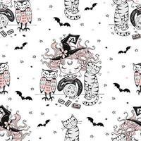 sömlösa mönster med ett halloween-tema vektor
