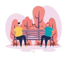 Paar, das soziale Distanzierung im Park übt vektor