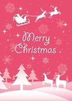 julaffisch med jultomten och renar vektor