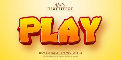 Text abspielen, bearbeitbarer Texteffekt im Cartoon-Verlaufsstil vektor
