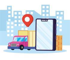 Online-Lieferservice in der Stadt vektor