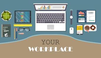 ovanifrån av modern kontorsarbetsplats vektor