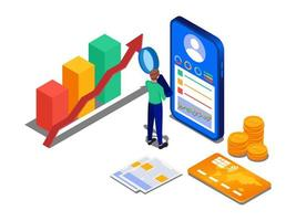 affärsman som kontrollerar personlig ekonomi på mobiltelefonen vektor