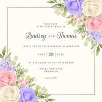 Blumenhochzeitskartenschablone mit Rosen und Rahmen vektor