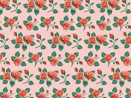 nahtloser Hintergrund der roten Rosen vektor