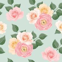 nahtloses Muster mit errötenden Rosen und Pfingstrosen vektor