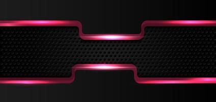 rosa glöd glänsande kant på svart metall bakgrund vektor
