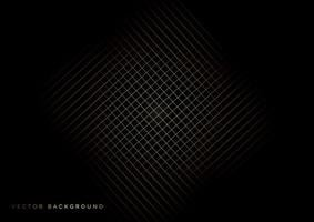 rutnät gyllene linjer mönster på svart bakgrund. vektor