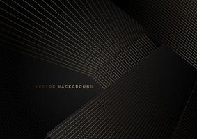 abstrakte goldene Linien auf diagonalen Überlappungen auf schwarz vektor