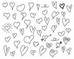 handgezeichnete Herzen gesetzt vektor