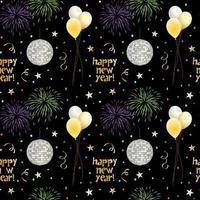 sömlösa nyårsmönster med ballonger och fyrverkerier