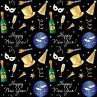 nahtloses Neujahrsmuster mit Champagner und Partyhüten