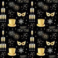 nyårsmönster med champagnefyrverkerier och snöflingor