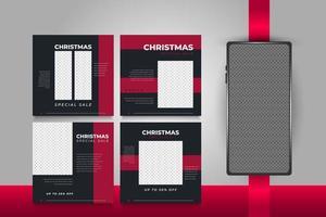jul sociala medier postmallar för reklam eller marknadsföring vektor