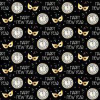 nahtloses Neujahrsmuster mit Countdown-Uhr und Masken