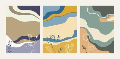 samling av abstrakta bakgrunder med blommiga element