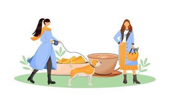 kvinnlig hundägare i café vektor