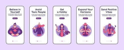 Psychologische Ratschläge zum Onboarding des Bildschirms der mobilen App vektor