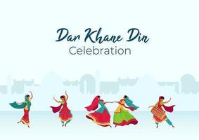 Dar Khane Din Feier Poster vektor