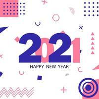 2021 Hintergrund mit Memphis-Stil vektor