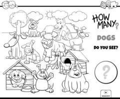 räknar hundar pedagogisk uppgift färgbok vektor