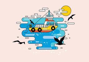 Winde auf dem Boot Vector