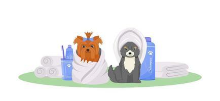 tvättade hundar ute vektor