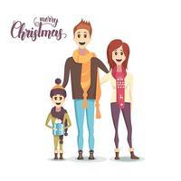 lycklig familj vid jul vektor