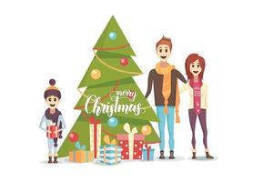 lycklig familj med dekorerat julgran vektor