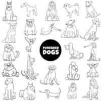 Cartoon reinrassige Hunde setzen Farbbuchseite