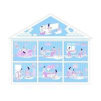 Familienaktivitäten in Wohnungen vektor