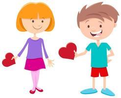 alla hjärtans kort med flicka och pojke karaktärer vektor