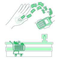 mikrochip och betalningsterminal vektor