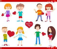 Alla hjärtans dag semester tecknad kärlek uppsättning vektor