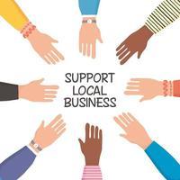 stödja lokala företagskampanjer med mänskliga händer