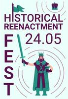 Plakat des historischen Nachstellungsfestivals vektor