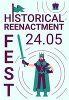 historisk rekonstruktionsfestivalaffisch vektor
