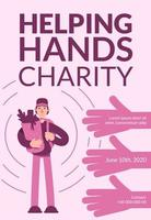 hjälpande händer välgörenhetsaffisch vektor