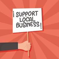 stödja lokal affärskampanj med handlyftande banner vektor