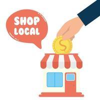stödja lokal affärskampanj med butiksbyggnad vektor