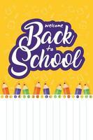 tillbaka till skolans affisch med färgpennor vektor